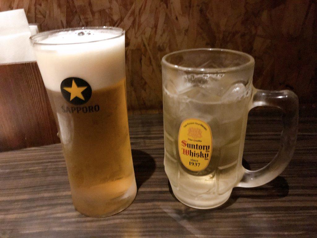 ビールと角ハイ